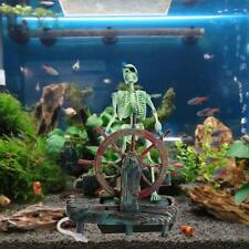 Plastic Skeleton with Air Operated Wheel Aquarium Ornament Fish Tank Decoration