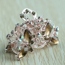 Hair Clip Claw Clamp Metal Crystal Glass Coffee Lady Girl 35x65mm