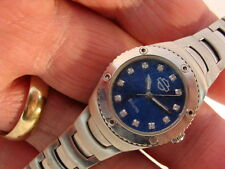 Lady's Bulova Harley Davidson Blue-Face 50M WR Quartz Watch All Stainless Steel