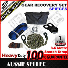4WD 4X4 WINCH RECOVERY KIT BOW SHACKLE TOW STRAP BLOCK DRAG CHAIN TOW PULLEY