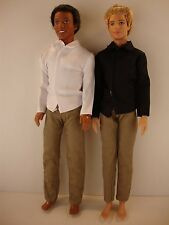 2 Ken Doll Outfits 2 Pair of Pants & 2 Long Sleeve Dress Shirts in Black/White