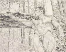 "9"" x 12"" drawing print nude male at horizontal tree gay art"
