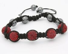 Macrame Beaded Bracelet Crystal Pave Dark shiny Red Disco Ball with Gift Box