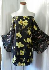 NEW GYPSY BLACK & YELLOW FLORAL Off Shoulder BOHO KIMONO Bell Sleeve DRESS Small