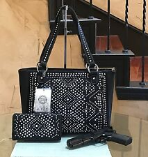 Montana West Silver&Crystal Studs Tribal Design Concealed Carry Handbag+ Wallet