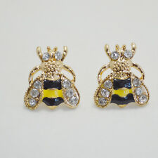Tono Oro Negro Y Amarillo Esmalte Cristal Abeja Lindo Regalo Stud Pendientes Art Deco