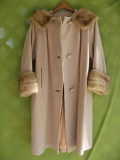 REAL MINK FUR COLLAR & CUFFS ON CASHMERE COAT MED-LG MILLAY QUEEN'S RANSOME 39""