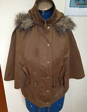 WITCHERY ~ Olive Green Zipper Front Winter Poncho Faux Fur Edged Hood ~ XS/S
