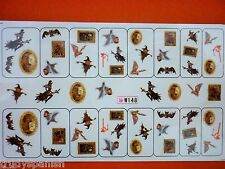Nail Art Water Decals Stickers Halloween Gothic Skulls Witch Bat Gel Polish 148