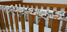 Baby Crib Cot Rail Cover Teething Pad - Grey Brown Woodland Deer On White