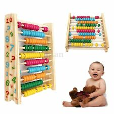 Wooden Wood Bead Number Counting Abacus Educational School Maths Toy Kids Gift