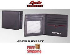 VICTORY MOTORCYCLES LEATHER BI-FOLD WALLET NEW BLACK RED AUTHENTIC FREE SHIPPING