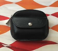 Authentic Louis Vuitton Black Epi Schilling Porte Monnaie Coin Purse Wallet