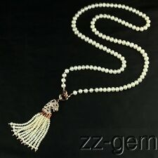 N1610079  32'' 7-8mm white round freshwater pearls necklace