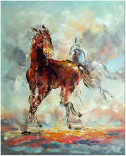 Hand Painted Palette Knife Abstract Horse Art Oil Painting On Canvas