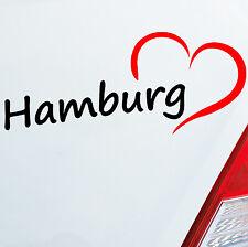 Pegatinas De Coches Hamburgo aprox. 19x8cm HH Corazón Corazón Ciudad