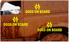 3 x FLUORESCENT DOGS ON BOARD DOG PAW STICKER DECALS    (s169)