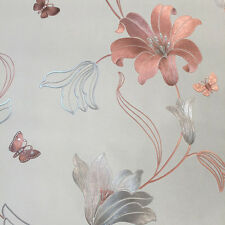 Amelia Metallic Floral Wallpaper by Muriva - Stone/Rose Gold 701410