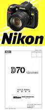 Cámara SLR Nikon D70 D Manual de reparación de servicio