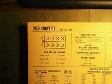 1959 Chevrolet Corvette EIGHT Series 283 CI V8 with Fuel Injection Tune Up Chart