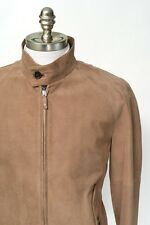 New BRIONI Camel Micro Houndstooth Suede Leather Bomber Jacket Coat 50 M L NWT