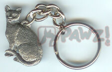 New listing Shorthair Cat Sitting Fine Pewter Keychain Key Chain Ring Usa Made