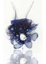 Hot 1pcs Feathers Gauze Headdress Corsage Flowers Dancing/Party  Navy color