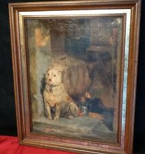 AFTER SIR EDWIN LANDSEER (British, 1802-1873) LOW LIFE ANTIQUE OIL PAINTING DOG