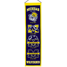 NCAA Football College Wimpel/Pennant/Banner MICHIGAN WOLVERINES Heritage - OVP