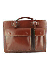 Classic Vacchetta Cowhide Italian Leather Briefcase By Giglio MADE IN ITALY