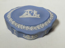 Wedgwood blue jasperware oval lidded trinket box. Classical scene.