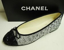 Chanel Classic CC Logo Tweed Sequin Leather Ballerina Ballet Flats Shoes 41