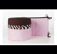 Pam Grace Creations Zara Zebra Crib Bumper Pink Brown Nwop