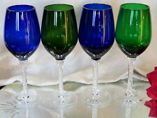 4 COBALT BLUE & GREEN Crystal Wine Glasses Goblets AIRTWIST STEMS Murano Italy!