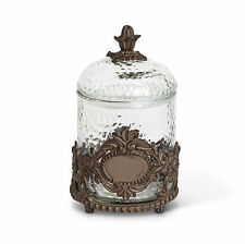 The GG Collection Griffen Glass & Brown Metal Pet Treat Jar / Canister