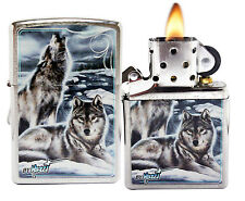 Zippo Lighter 28002 Mazzi Winter Wolves Brushed Chrome Animals Theme NEW