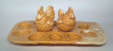 "CC Hen Chicken Salt And Pepper Shakers And Deviled Egg Plate 9.5"" Platter Brown"