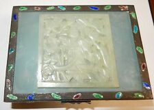 CHINESE CARVED WHITE JADE CLOISONNE REPOUSSE ENAMEL HUMIDOR JAR BOX