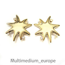 Pierre Lang Ohrclips Stern massiv vergoldet signiert Clips earrings gilt