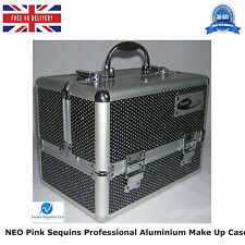 2 X BLACK ALUMINIUM SEQUINS COSMETIC BEAUTY VANITY MAKE UP JEWELLERY SALOON CASE