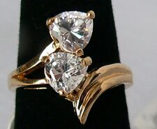 Park Lane Retired Hostess Ring w/ 2 Heart-Shaped CZ's Very Pretty Size 6