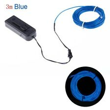 Neon LED Light EL Wire Strip Tube for Car Dance Party +Controller Blue 3m Fine