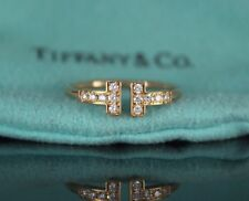 $1,600 Tiffany 18K Rose Gold Round Diamond T Wire Accentuate Ring Band Size 6.25