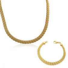 Stainless Steel Yellow Gold Plated Caviar Chain Womens Necklace Bracelet Set