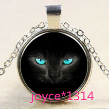 Vintage Black Cat Cabochon Tibetan silver Glass Chain Pendant Necklace #856
