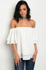 COWGIRL GYPSY ivory off shoulder BOHO PEASANT blouse Top Western Bell Sleeve S