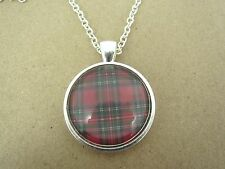 Scottish Highland Tartan Design Silver Pendant Glass Necklace New in Gift Bag