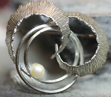 835 SILVER VINTAGE IMITATION WHITE PEARL MULTI SWIRL CIRCLE PIN BROOCH