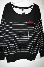 """Torrid"" Long Sleeve Sweater~Black~Striped~""Love""~3~NWT"