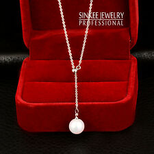 Women Simply White Pearl Long Pendant Necklace Chain 18K White Gold Plated Xl614